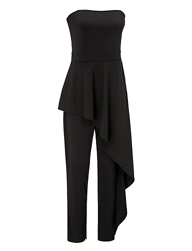 64041a8b5b1c Women s Ruffle Daily   Going out Simple   Vintage Strapless Black Jumpsuit