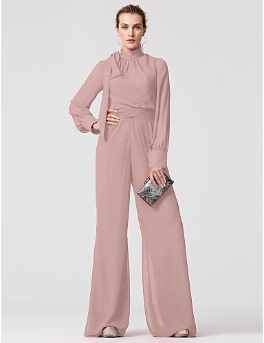 זול שמלות חג-אוברול צווארון גבוה עד הריצפה שיפון שמלה עם פפיון(ים) / סרט על ידי TS Couture®