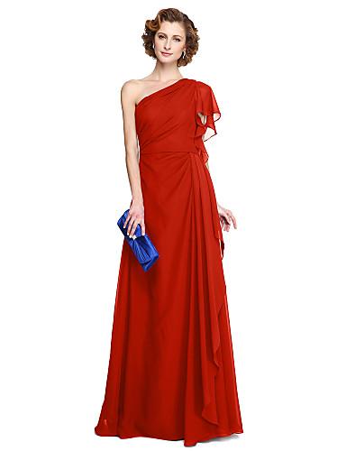 Linha A Assimétrico Longo Chiffon Vestido Para Mãe dos Noivos com Pregas de LAN TING BRIDE®