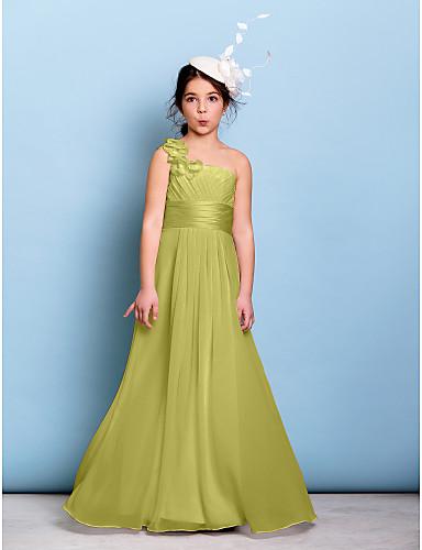 billige Bryllupsfestkjoler-A-linje Enskuldret Gulvlang Chiffon Junior brudepikekjole med Belte / bånd / Kryssdrapering / Bølgemønster av LAN TING BRIDE® / Naturlig