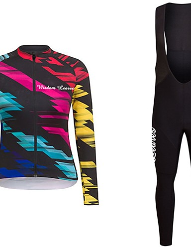 cheap Cycling Clothing-Wisdom Leaves Women's Long Sleeve Cycling Jersey with Bib Tights - Dark Pink Red+Blue Bike Jersey Clothing Suit Sports Polyester Geometric Mountain Bike MTB Road Bike Cycling Clothing Apparel
