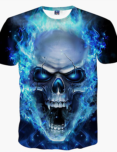 cheap Men's Tees & Tank Tops-Men's Daily Club Weekend Basic T-shirt - Skull Print Round Neck Blue XXXL / Short Sleeve / Summer
