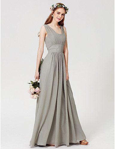 fc31d51e8b6b6 Sheath   Column Square Neck Floor Length Chiffon Bridesmaid Dress with  Draping by LAN TING BRIDE®   Open Back