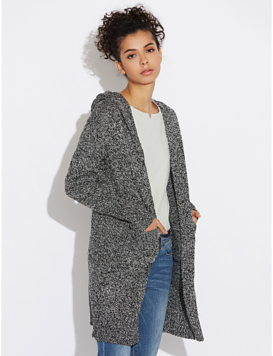 Damen Lang Strickjacke-Lässig/Alltäglich Einfach Solide Geometrisch Mit Kapuze Langarm Baumwolle Herbst Winter Mittel Mikro-elastisch