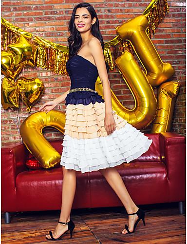Γραμμή Α Στράπλες Μέχρι το γόνατο Σιφόν Κοκτέιλ Πάρτι Καλωσόρισμα Χοροεσπερίδα Φόρεμα με Χάντρες Ζώνη / Κορδέλα Πλισέ με TS Couture®
