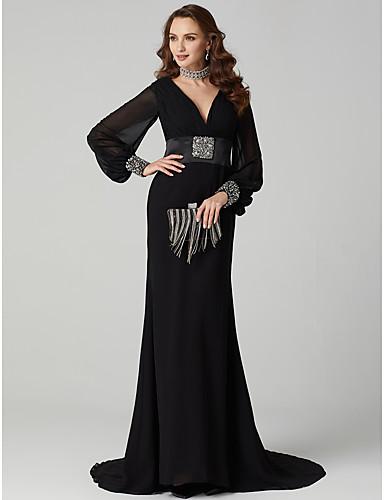 عامودي تغرق العنق ذيل مثل الفرشاة شيفون حفلة رسمية فستان مع ترتر / بروش كريستال بواسطة TS Couture®