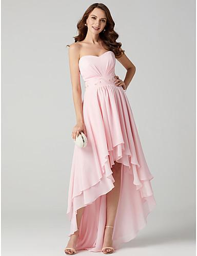 A-line princezna strapless sladká podlaha délka asymetrický šifón večerní šaty s tkaničkou ts couture®