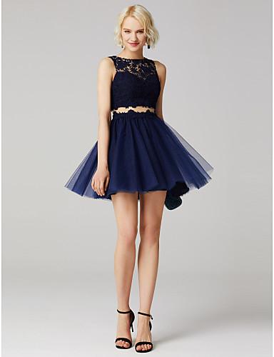 billige Formelle dresser-Ballkjole Besmykket Kort / mini Blonder med tylloverlegg Kjole med Appliqué / Plissert av TS Couture®