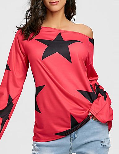 billige Topper til damer-Bomull Båthals T-skjorte Dame - Geometrisk, Trykt mønster Gatemote / Punk & Gotisk Ut på byen Hvit