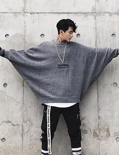 אחיד - סוודר שרוול ארוך צווארון עגול בגדי ריקוד גברים