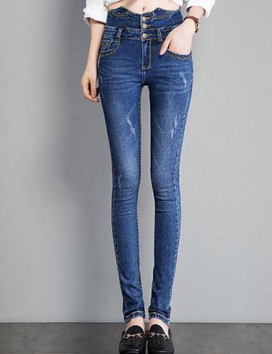 בגדי ריקוד נשים וינטאג' כותנה ג'ינסים מכנסיים אחיד / סתיו