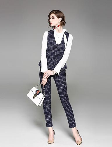 מכנס משובץ דמקה - חולצה סגנון רחוב עבודה בגדי ריקוד נשים