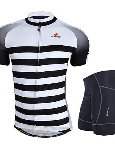 cheap Cycling Clothing-Nuckily Men's Short Sleeve Cycling Jersey with Shorts - Gray Bike Clothing Suit Windproof Breathable 3D Pad Anatomic Design Reflective Strips Sports Polyester Spandex Horizontal Stripes Mountain Bike