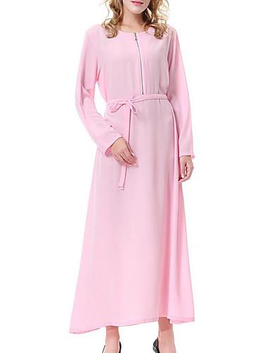 מידי סגנון מודרני קלאסי צבע טהור, אחיד - שמלה משוחרר כותנה חגים בגדי ריקוד נשים