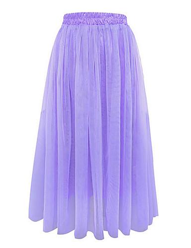 abordables Jupes-Femme Ordinaire Quotidien 18 ème Anniversaire Balançoire Jupes - Couleur Pleine Vin Bleu clair Violet Taille unique