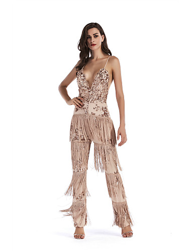 258b4d1a766 Women s Sequins Daily White Blushing Pink Beige Harem Jumpsuit