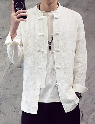 אחיד צווארון עומד(סיני) רגיל חולצה - בגדי ריקוד גברים / שרוול ארוך