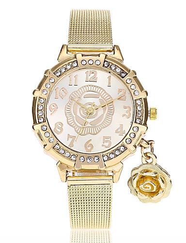 בגדי ריקוד נשים נשים שעון יד קווארץ חיקוי יהלום סגסוגת להקה אנלוגי פרח יום יומי אופנתי זהב - זהב