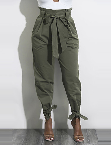 cheap Women's Pants-Women's Street chic Holiday Casual / Daily Chinos Pants - Solid Colored Bow / Ruched Yellow Army Green Khaki L XL XXL