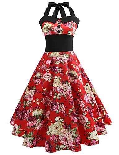 קולר מותניים גבוהים עד הברך פרחוני - שמלה סווינג כותנה סגנון רחוב עבודה חגים בגדי ריקוד נשים