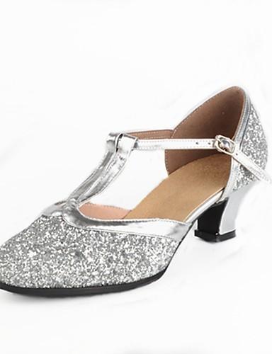 povoljno Cipele za ples-Žene Plesne cipele Sitne šljokice Moderna obuća Isprepleteni dijelovi / Šljokice Štikle Potpetica po mjeri Moguće personalizirati Zlato / Srebro / EU40