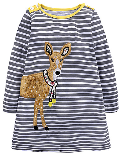 d3433ed7b7c7 Toddler Girls' Casual Daily Holiday Striped Long Sleeve Cotton Dress Gray /  Cute