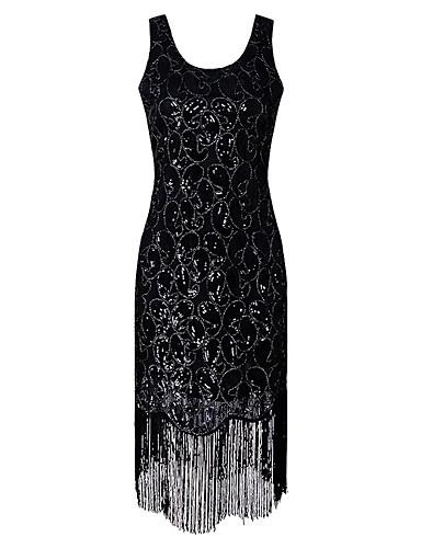 b04a170d 1920-tallet Den store Gatsby De stormende 20-årene Kostume Dame Flapper  Dress Svart / Gylden Vintage Cosplay Fest Skoleball Kortermet Kappeerme /  Paljetter