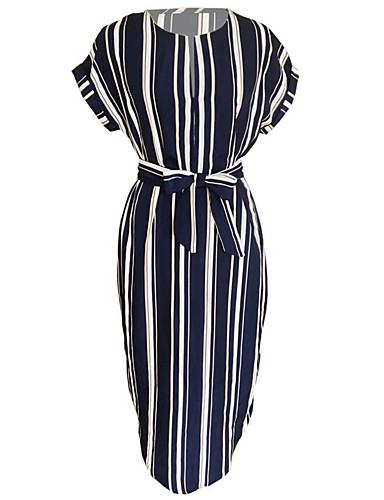 צווארון V מותניים גבוהים א-סימטרי פסים - שמלה נדן בסיסי ליציאה חגים בגדי ריקוד נשים