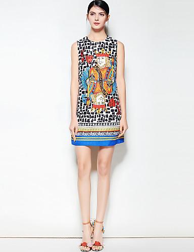 דפוס, קולור בלוק - שמלה גזרת A בוהו בגדי ריקוד נשים