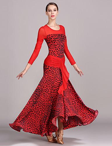 9f329fda250 Ballroom Dance Dresses Women s Performance Tulle Ice Silk Pattern   Print  Long Sleeves High Dress