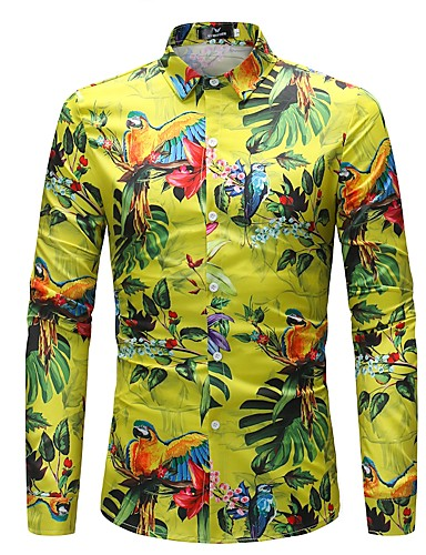d91a63ae1782 Men s Street chic   Chinoiserie Plus Size Cotton   Linen Shirt - Floral    Animal Classic Collar   Long Sleeve  06537123