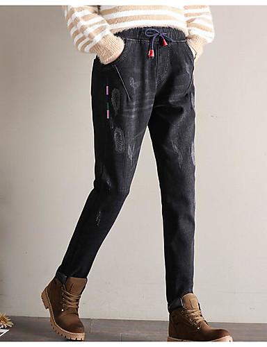 בגדי ריקוד נשים כותנה ג'ינסים מכנסיים דפוס / חורף