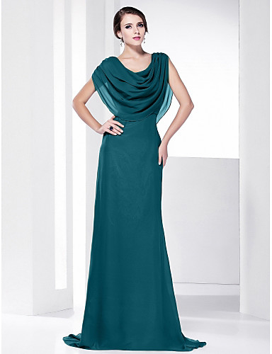 2a2f3fd3bb2 Sheath   Column Cowl Neck Sweep   Brush Train Chiffon Formal Evening Dress  with Draping by TS Couture®