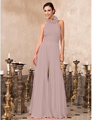 abordables robe invitée mariage-Combinaison Licou Longueur Sol Mousseline de soie Soirée Formel Robe avec Plissé par TS Couture®