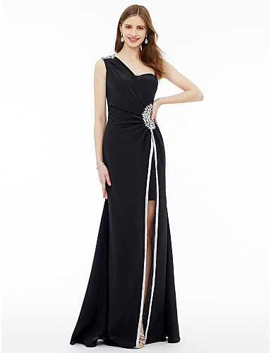 Sheath / Column One Shoulder Floor Length Jersey Formal Evening Dress with Split Front Crystal Brooch by TS Couture®