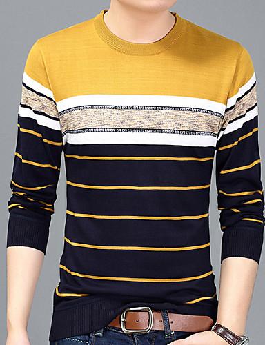 billige T-shirts og undertrøjer til herrer-Rund hals Herre - Stribet Trykt mønster Basale T-shirt Navyblå L / Langærmet / Efterår