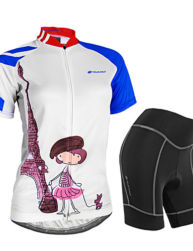 cheap Cycling Clothing-Nuckily Women's Short Sleeve Cycling Jersey with Shorts - White Bike Shorts Jersey Clothing Suit Waterproof Breathable 3D Pad Reflective Strips Sweat-wicking Sports Polyester Spandex Painting