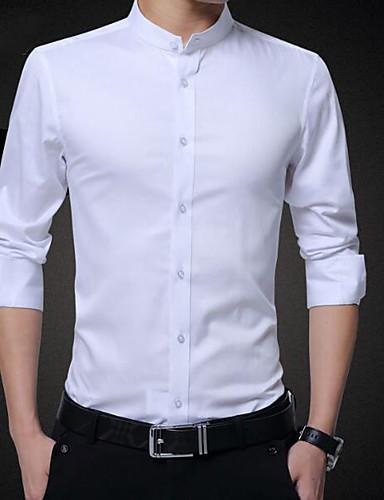 אחיד צווארון עומד(סיני) כותנה, חולצה - בגדי ריקוד גברים