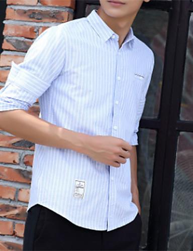 פסים צווארון קלאסי רזה חולצה - בגדי ריקוד גברים דפוס / שרוול ארוך