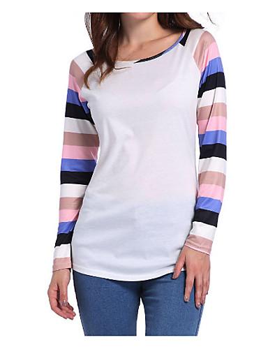 billige Dametopper-Bomull T-skjorte Dame - Stripet / Lapper Fritid / Grunnleggende Blå / Vår