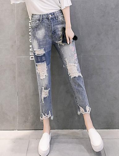 בגדי ריקוד נשים כותנה ג'ינסים מכנסיים - גיזרה גבוהה אחיד