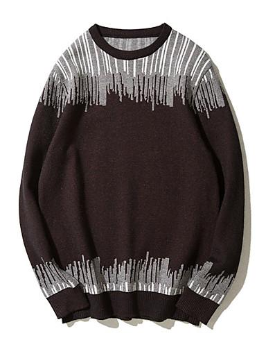 קולור בלוק - סוודר שרוול ארוך צווארון עגול בגדי ריקוד גברים