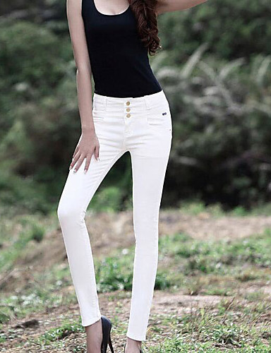 בגדי ריקוד נשים פשוט ג'ינסים מכנסיים - גיזרה גבוהה אחיד