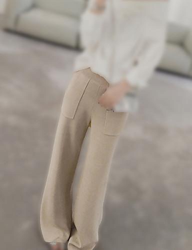 בגדי ריקוד נשים רגל רחבה מכנסיים - גיזרה גבוהה אחיד / סתיו / חורף