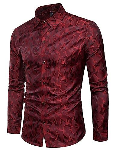 Chemise Homme, camouflage - Coton Jacquard Soirée Luxe Gris XL / Manches Longues / Printemps