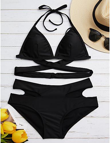 povoljno Ženske majice-Žene Na vezanje Jednobojno Crn Bikini Kupaći kostimi - Jedna barva Ukriženo M L XL Crn / Sexy