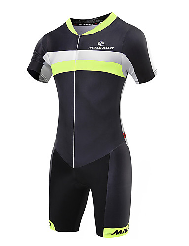 Malciklo Men s Short Sleeve Triathlon Tri Suit - Green   Black Geometic    British Bike Breathable 8df05732c