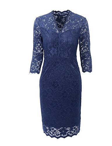 צווארון V עד הברך צבע אחיד - שמלה צינור כותנה בסיסי בגדי ריקוד נשים