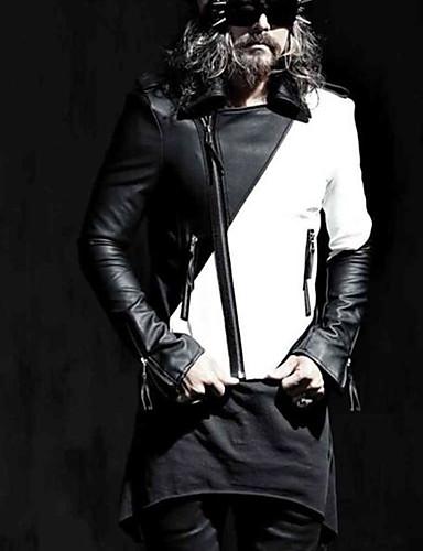 קולור בלוק צווארון חולצה ז'קטים מעור - בגדי ריקוד גברים, דפוס / שרוול ארוך