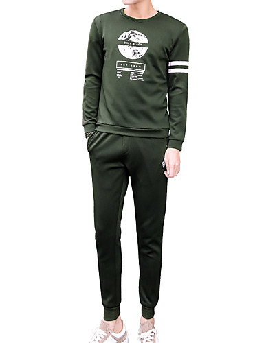 צווארון עגול אחיד activewear הגדר רזה שרוול ארוך ספורט בגדי ריקוד גברים